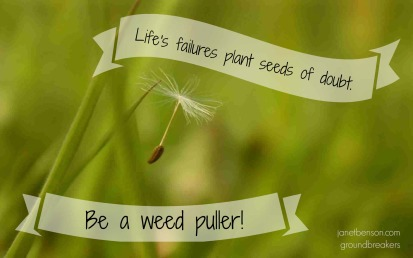 Lifes failures plant seeds of doubt - be a weed puller - janetbenson